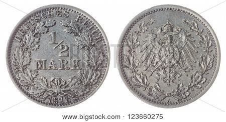 Silver half mark 1918 coin isolated on white background, Germany Empire