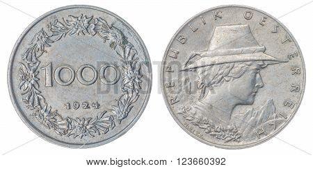 1000 Kronen 1924 Coin Isolated On White Background, Austria