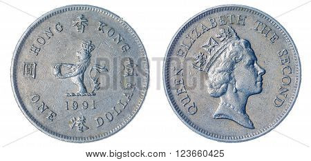 1 Dollar 1991 Coin Isolated On White Background, Hong Kong