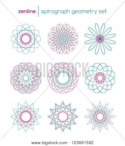 Vector linear spirograph circles, spiral emblems, abstract round design shapes in pink and blue