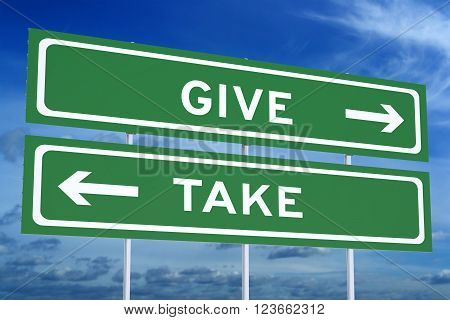 give or take concept on the road signpost 3D rendering