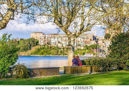 old ladies chat in Capodimonte - Lazio - Italy - Viterbo