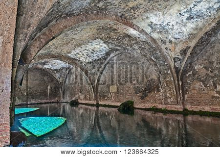 SIENA, ITALY - MARCH 24: interior of the medieval fountain Fontebranda. It was the main water source of the city and it has been cited by Dante Alighieri in the Divine Comedy. Photo taken on March 24, 2016 in Siena, Tuscany, Italy