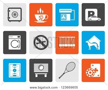 Flat hotel and motel amenity icons - vector icon set
