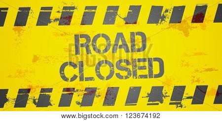 detailed illustration of a grungy Road closed Construction background, eps10 vector
