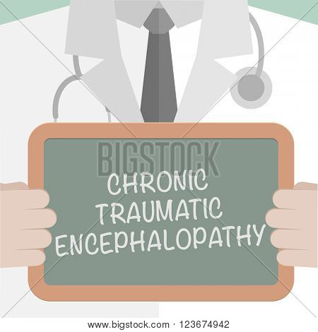 minimalistic illustration of a doctor holding a blackboard with Chronic Traumatic Encephalopathy text, eps10 vector
