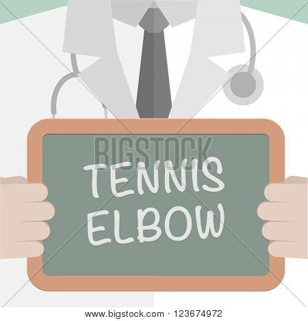 minimalistic illustration of a doctor holding a blackboard with Tennis Elbow text, eps10 vector