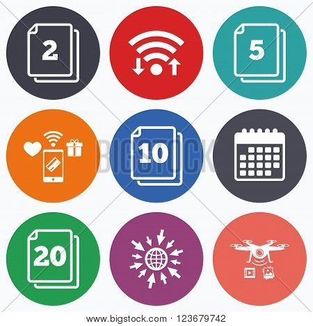 Wifi, mobile payments and drones icons. In pack sheets icons. Quantity per package symbols. 2, 5, 10 and 20 paper units in the pack signs. Calendar symbol.