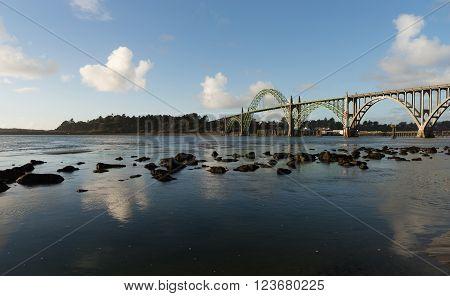 Yaquina Bay Shellfish Preserve Newport Bridge Oregon River Mouth