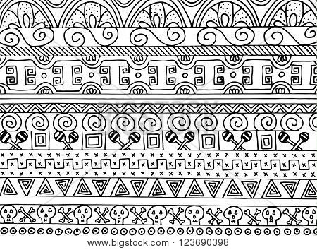 Vector trendy hand drawn pattern with ethnic and tribal texture. Vintage mexican backdrop with elements of bones, skulls and a maraca. Striped boho style background.