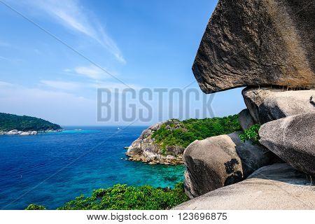 Sea beach in Similan island Thailand, beautiful blue sea.