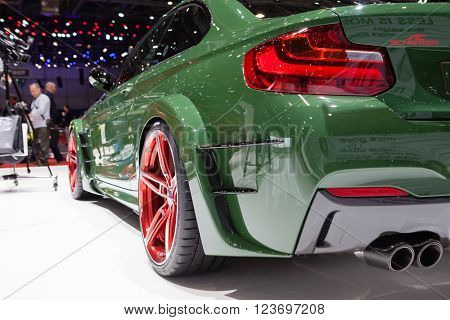 GENEVA, SWITZERLAND - MARCH 1: Geneva Motor Show on March 1, 2016 in Geneva, AC Schnitzer ACL2, rear light closeup view