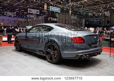 GENEVA, SWITZERLAND - MARCH 1: Geneva Motor Show on March 1, 2016 in Geneva, Startech Bentley Continental GT, front-side view