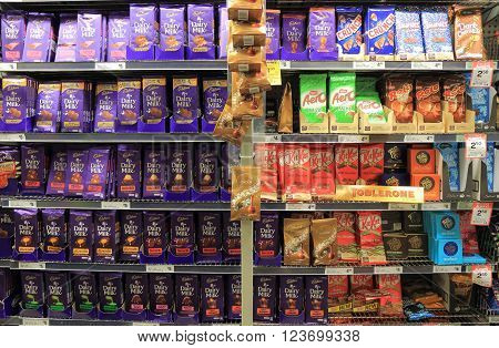 MELBOURNE AUSTRALIA - MARCH 26, 2016: Chocolate display at a supermarket in Melbourne Australia.