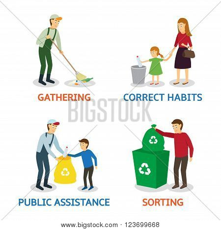 Vector set of cartoon people gathering garbage. Vector illustration of characters gathering garbage and plastic waste for recycling. Care of the nature.