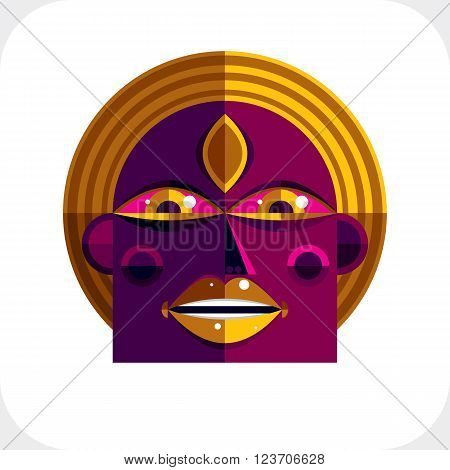 Personality face colorful vector illustration made from geometric figures. Flat design image cubism style.