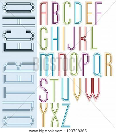 Poster echo light striped font bright condensed geometric uppercase letters on white background.