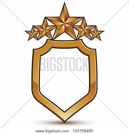 Vector stylized festive symbol isolated on white background. Glamorous golden star five stars insignia.