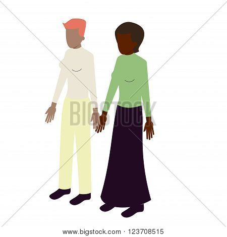 young isometric lesbian couple of african-american women standing holding hands