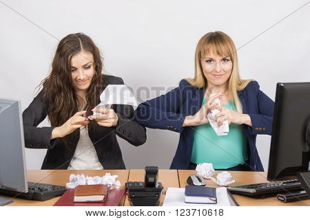 Employees Of The Office Crumple Paper With An Evil Expression Individual
