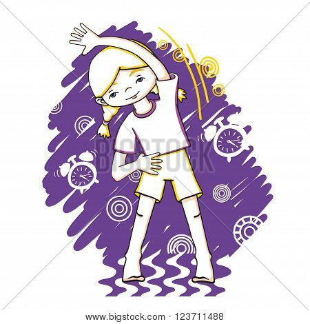 Morning fitness girl color vector drawing. Healthy lifestyle background.