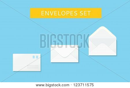 Envelope set open and close design flat. Letter mail envelope template icon, white envelope, invitation open or close envelope vector illustration