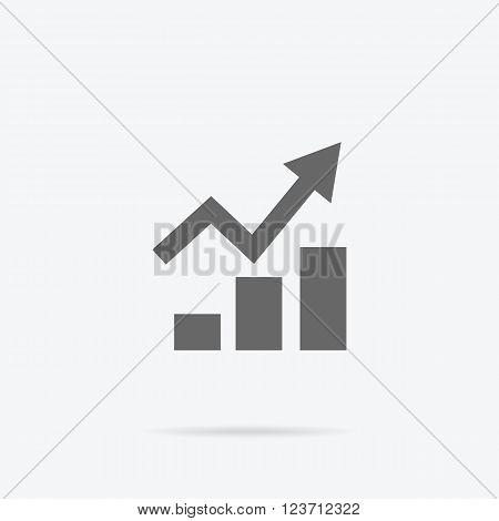 Graph flat sign design concept. Graph pie infographics icon, diagram marketing, report data, rising up statistic finance presentation, market information financial logo vector illustration