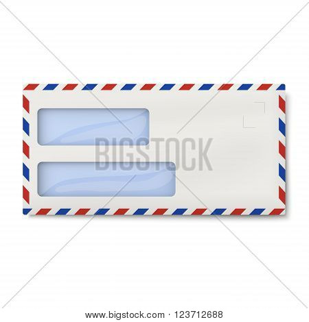 Air mail DL envelope with two windows for addressee and return sender's address isolated