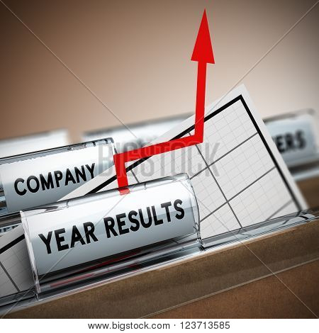 Files with focus on the tab year results with chart and arrow with an arrow coming out of the sheet. Concept image 3D illustration of exceptional company results