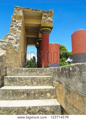 CRETE, GREECE, 19.06/2015:  Ruins of the Minoan Palace of Knossos in Heraklion Crete Greece