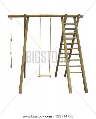 Wooden sports playground wall bars for children isolater over white background