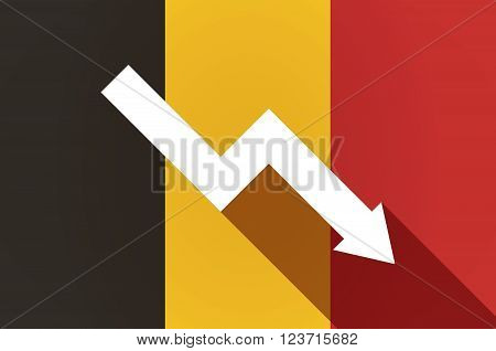 Long Shadow Belgium Flag With A Descending Graph