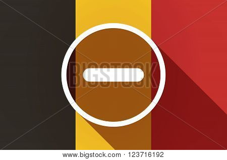 Long Shadow Belgium Flag With A Subtraction Sign