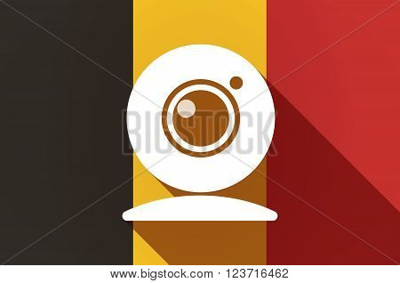 Long Shadow Belgium Flag With A Web Cam