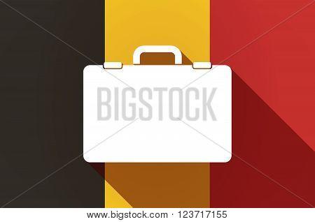 Long Shadow Belgium Flag With  A Breiefcase