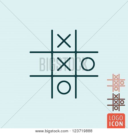 Tic tac toe XO icon. Tic tac toe XO symbol. Noughts and crosses board game icon isolated. Vector illustration