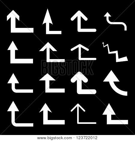 Turn Forward vector icon set. Collection style is white flat symbols on a black background. Turn Forward icons.