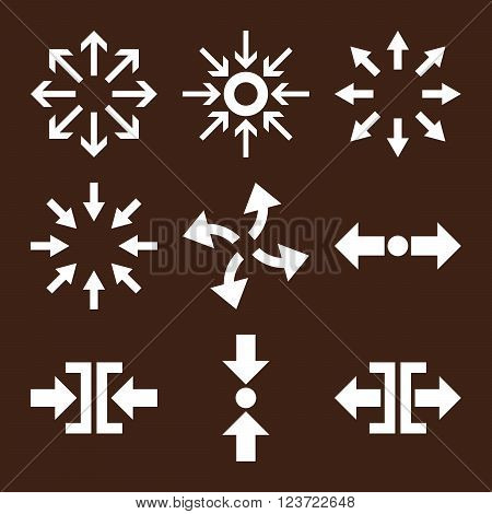 Compress and Explode Arrows vector icon set. Collection style is white flat symbols on a brown background. Compress And Explode Arrows icons.