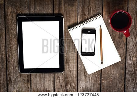 Stilllife With Red Cup, Computer Tablet Near Smartphone And Pencil On Scetchbook On Wooden Table