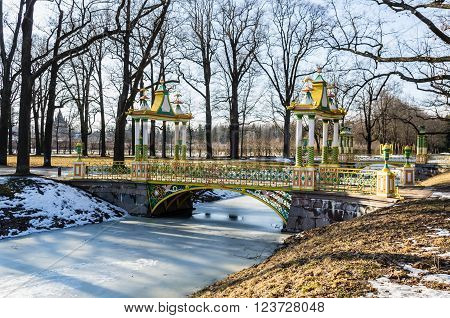 Day view on Small Chinise Bridge in Alexander Park in Tsarskoye Selo (Pushkin) Russia