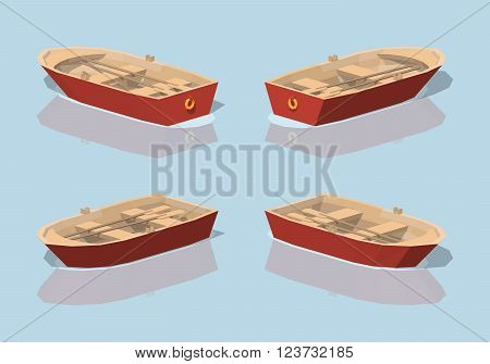 Low poly red punt boat. 3D lowpoly isometric vector illustration. The set of objects isolated against the light-blue background and shown from different sides