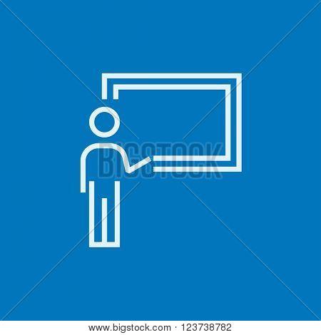 Professor pointing at blackboard line icon.
