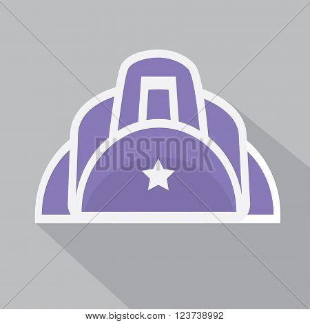 Duffle sport bag icon. Flat vector illustration.