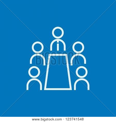 Business meeting in the office line icon.