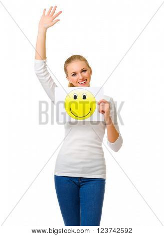 Young girl with smiling banner isolated