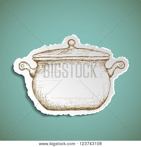 Icon pan for cooking. Doodle image of kitchenware. Stock vector illustration.