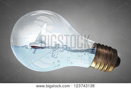 Boat in light bulb