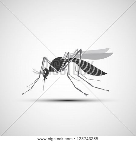 Mosquito Icon with stinger isolated on white background. Zika virus. West Nile fever. Stock vector illustration.