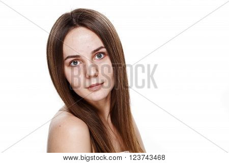 No Makeup Natural Clean Face Of Young Brunette Girl Without No Makeup. Studio Portrait White Isolate