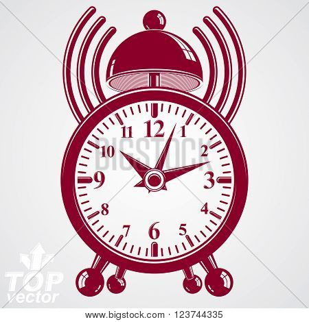 Elegant alarm clock vector 3d illustration with podcast sign wake up conceptual icon. Graphic retro dimensional clock with clang bell